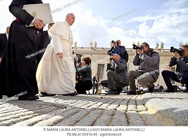 Pope Francis during the General audience, St. Peter Square, Vatican, Rome, ITALY-13-04-2016   Journalistic use only
