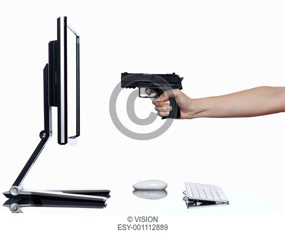 communication between human hand and a computer display monitor on isolated white background expressing failure gun shoot concept