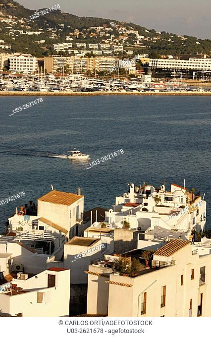 Partial view of Ibiza city and its harbour, Spain, Europe