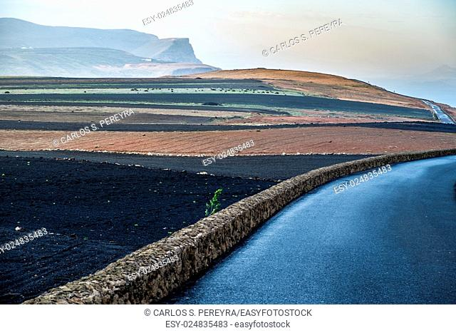 Road in the volcanic area of Lanzarote, Canary Islands, Spain