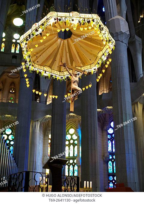 Inside view of Sagrada Familia Temple. Barcelona city. Spain