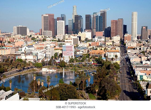 MacArthur Park in the Westlake neighborhood of Los Angeles, California with the downtown skyline