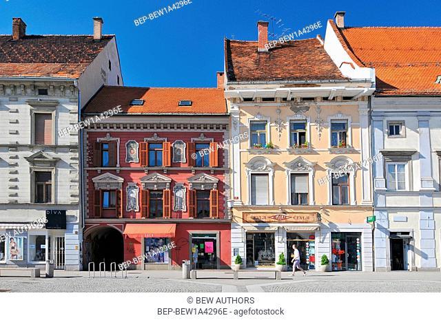 Slovenia, Maribor, Old houses on the main square of Maribor