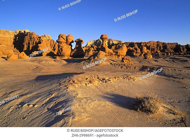 Evening light on eroded rock formations at Goblin Valley, Goblin Valley State Park, Utah USA