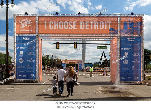 Detroit, Michigan - People enter Hart Plaza for the Detroit Jazz Festival