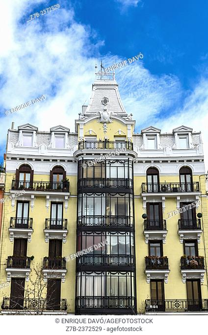 Vertical view of a building in Orient square, Madrid city, Spain