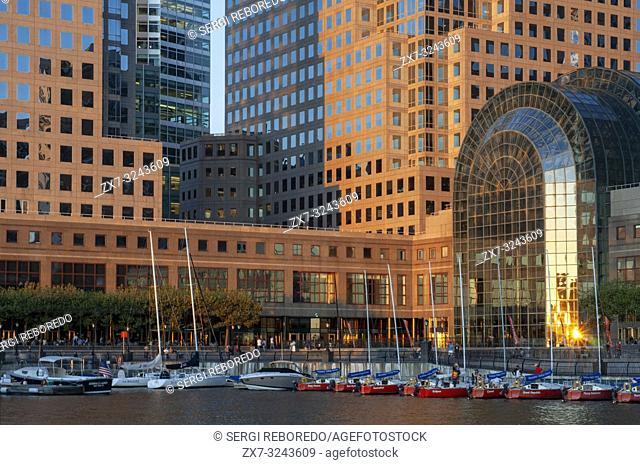 World Financial Center office buildings in the financial district of Manhattan. World Financial Center. Winter Garden Atrium Brookfield Place on the North Cove...