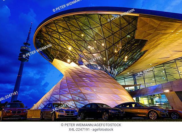 BMW Welt in Munich at Night, Bavaria, Germany, Europe