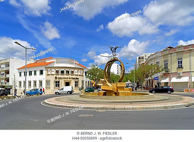 roundabout, street view, Loulé Portugal