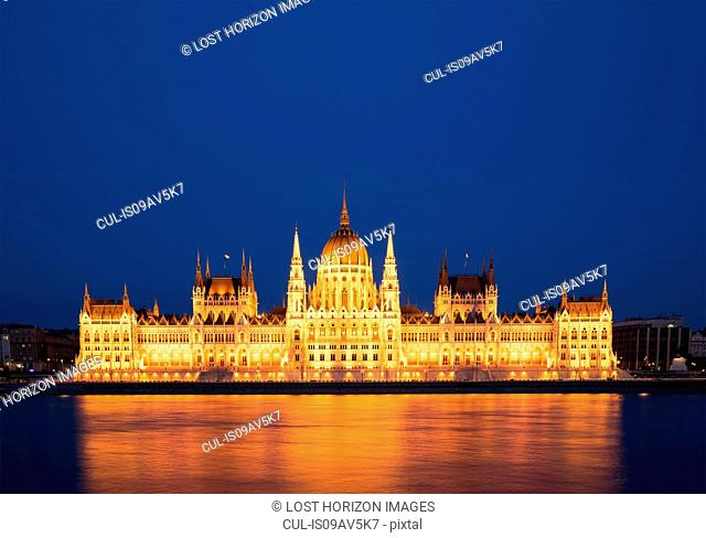 The Parliament illuminated at night, Hungary, Budapest