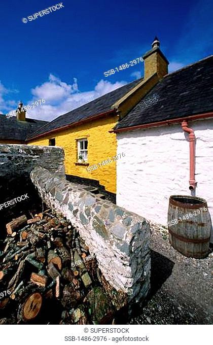 Wooden logs beside a stone wall, Killarney, County Kerry, Ireland