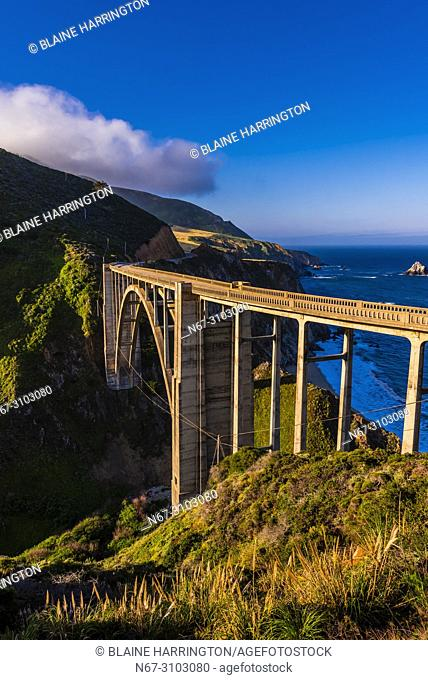 The Bixby Bridge along the Big Sur coast between Carmel Highlands and Big Sur, California USA