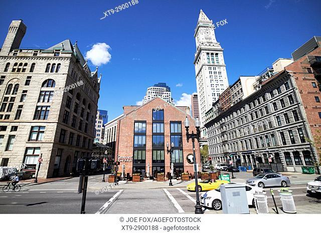 boston grain and flour exchange, granary tavern and custom house tower downtown Boston USA