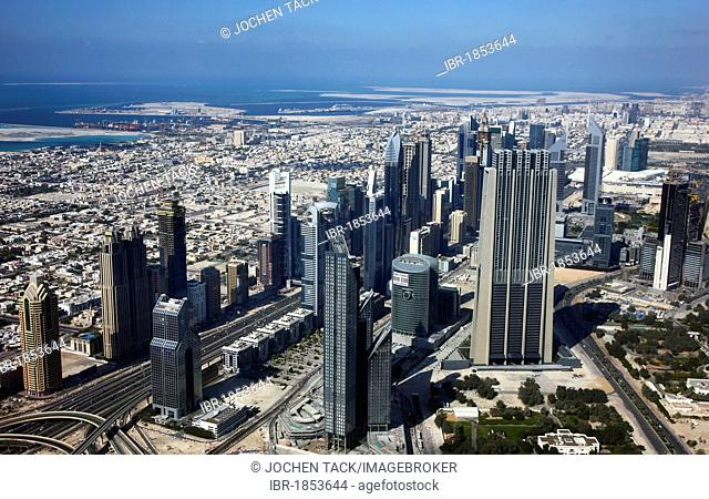 Skyscrapers on Sheikh Zayed Road, main artery and one of the centers in Dubai, United Arab Emirates, Middle East