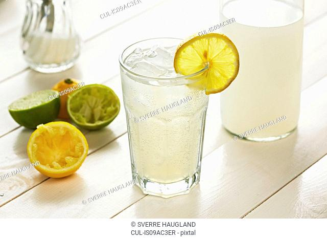 Glass of homemade lemonade with slice of lemon