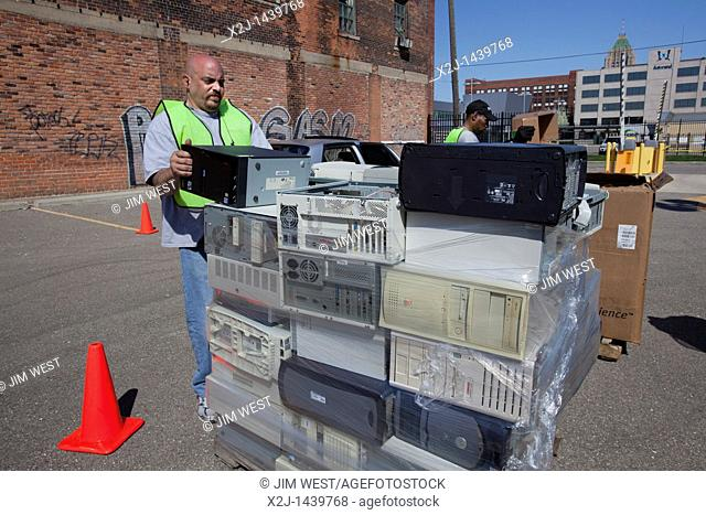 Detroit, Michigan - Electronics waste is collected for recycling at Wayne State University
