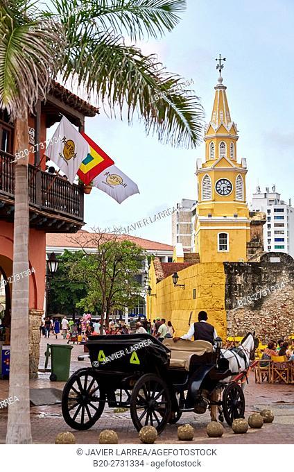 Torre del Reloj, Plaza de Los Coches, Cartagena de Indias, Bolivar, Colombia, South America