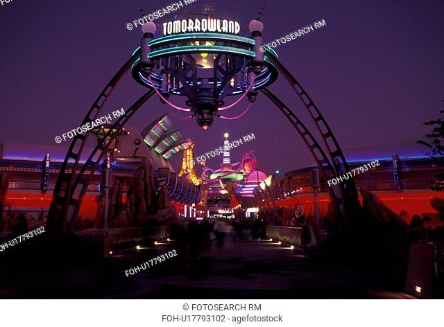 Disney World, Orlando, Florida, FL, Magic Kingdom, Tomorrowland, Lake Buena Vista, Tomorrowland illuminated at night in the Magic Kingdom at Walt Disney World...