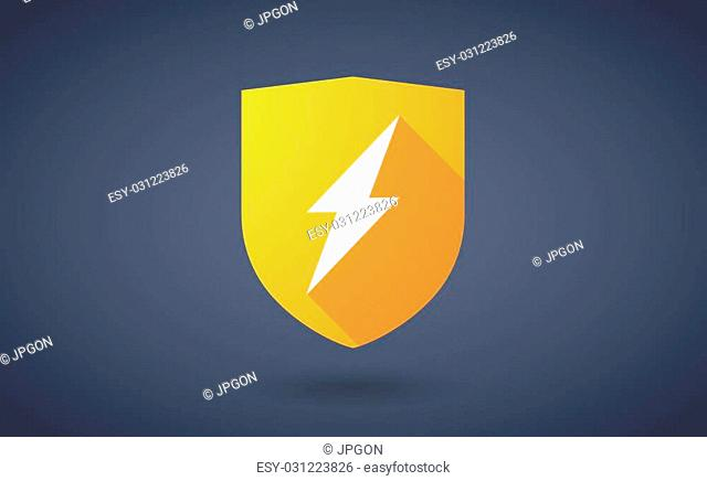 Illustration of a long shadow shield icon with a lightning sign