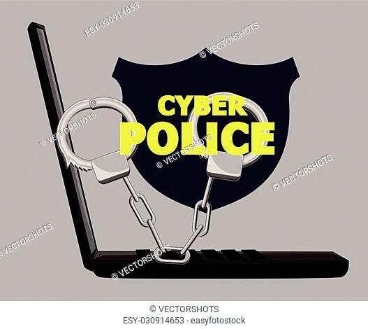 Cybercrime Concept With Handcuffs and Laptop Vector Illustration