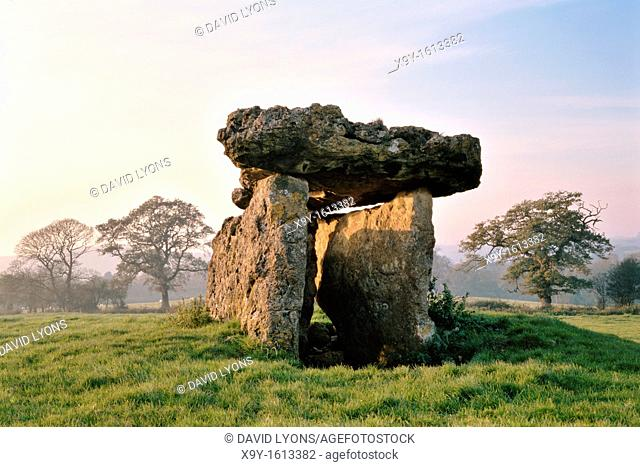 St Lythans 6000 year old prehistoric megalithic dolmen burial chamber Neolithic long barrow  Glamorgan, Wales, UK
