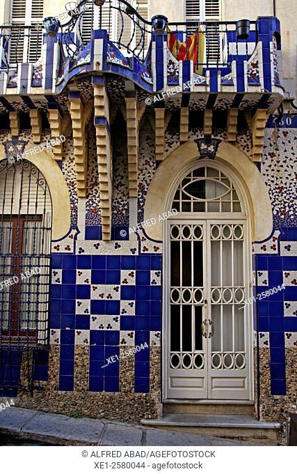 Can Planiol, 1910, modernist building, Sant Pol de Mar, Catalonia, Spain