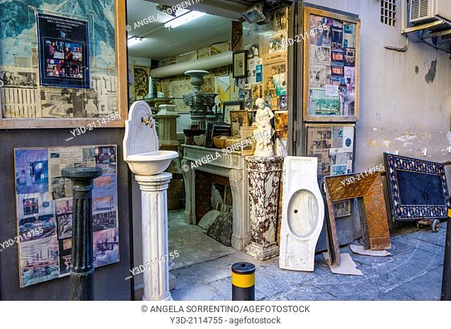 Old Marble store in Naples, Italy