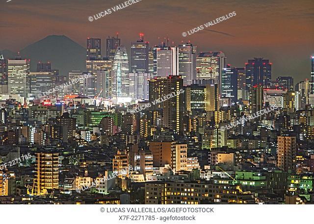 Skyscrapers of Shinjuku and Mount Fuji, Tokyo, Japan
