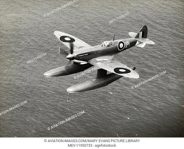 Prototype of Royal Air Force RAF Supermarine Spitfire 9 Floatplane Flying Enroute over Water