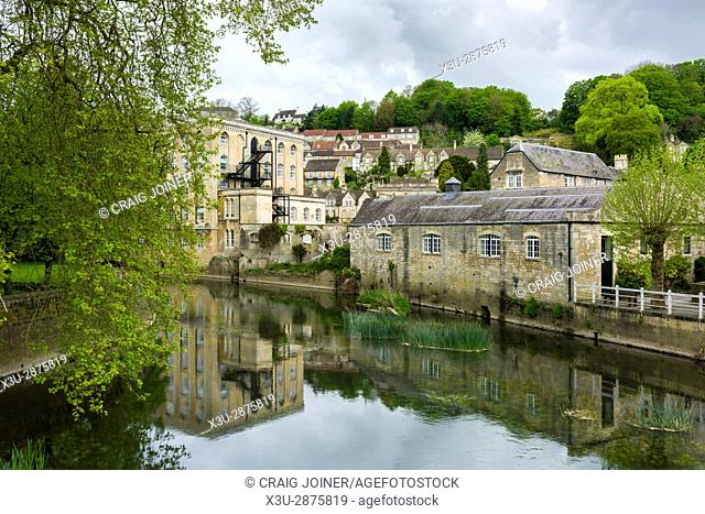 The River Avon and Abbey Mill in Bradford on Avon, Wiltshire, England
