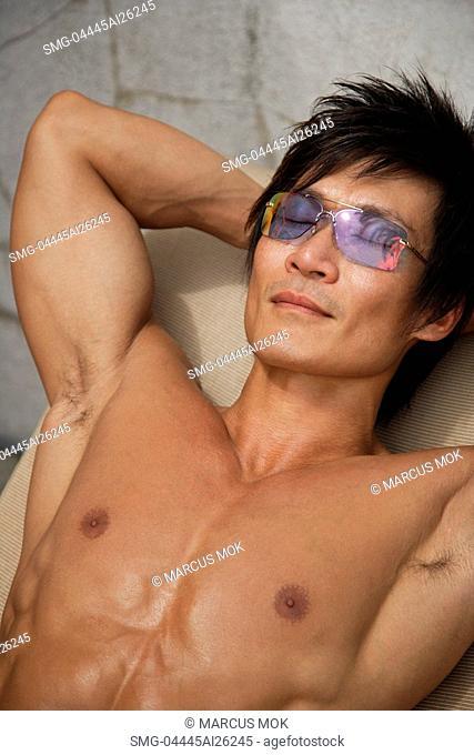 Man lying in the sun