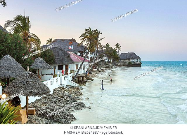 Tanzania, Zanzibar, Jambiani, waterfront hotel in dusk