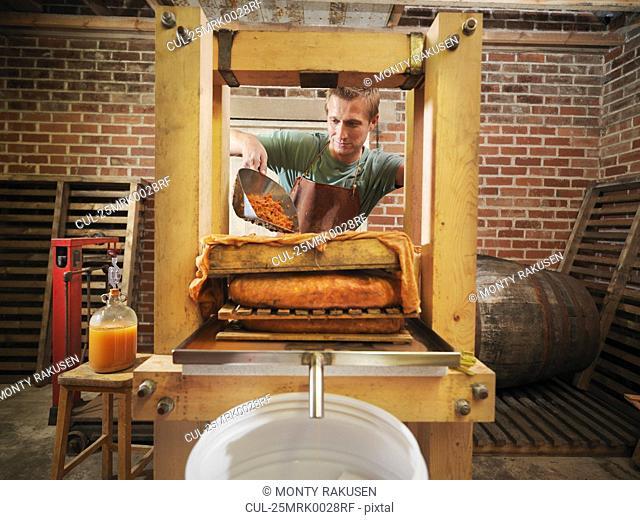 Man with organic cider press