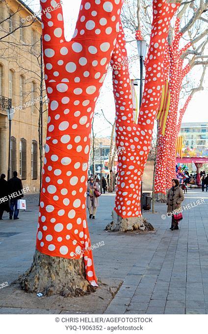Polka Dot Plane Trees Art Installation by Yayoi Kusama Cours Mirabeau Aix-en-Provence Provence France