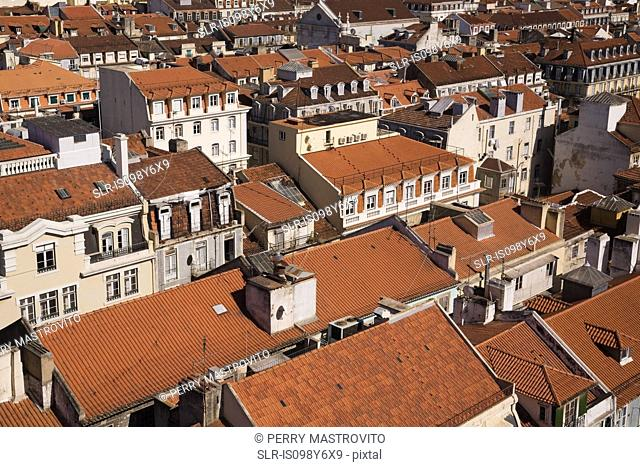 Lisbon rooftops viewed from Santa Justa Lift, Portugal