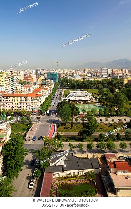 Albania, Tirana, elevated overview of Rinia Park and Taiwan Restaurant complex and Regency Casino