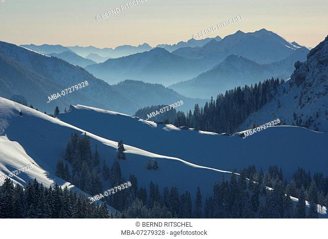 View from the Schönberg to the Rosssteinalmen and Rofan, Bavarian Prealps, Upper Bavaria, Bavaria, Germany