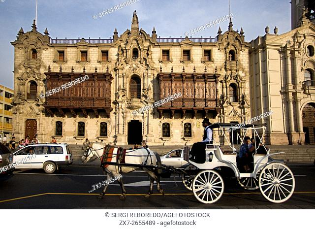 Horse ride carriage in front of the cathedral at Plaza de Armas square, Plaza Mayor, Peru, South America