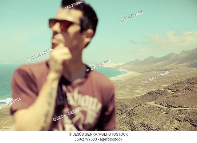 Man in Cofete, Fuerteventura, Canary Islands, Spain