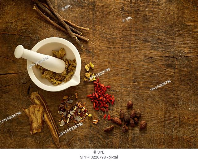 Herbs and equipment used for alternative medicine
