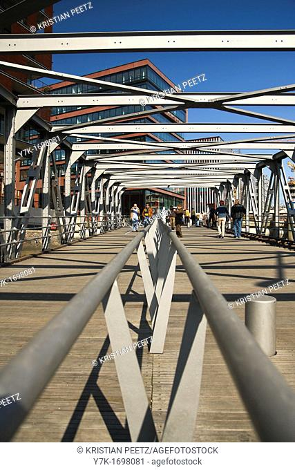 View of a bridge at the Magellan-Terraces in the new Hafencity in Hamburg, Germany