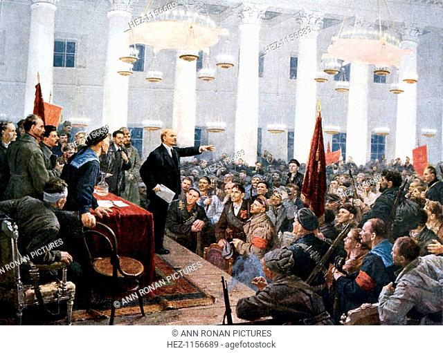 Lenin haranguing deputies of the 2nd Soviet Congress, Smolny Palace, St Petersburg, 1917. This meeting on 26 October 1917