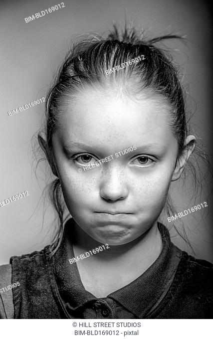 Close up of girl pouting