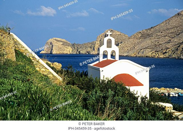 Church overlooking the bay at Galissas, one of the largest villages on the island of Syros