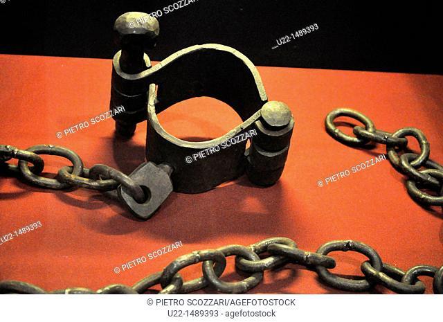 Seoul (South Korea): chains for prisoners at the Seodaemun Prison History Hall