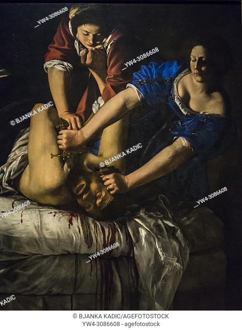 Capodimonte National Art Museum, Artemisis Gentileschi painting Judith and Holofernes, 1612, Naples, Italy