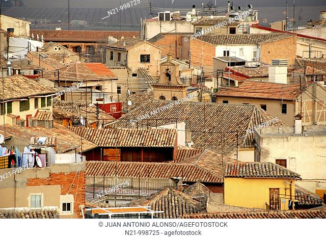 Roofs seen from the top of San Ildefonso Church, Toledo, Castilla-La Mancha, Spain, Europe