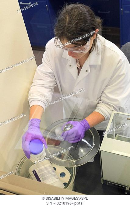 Lab technician getting reagent from storage