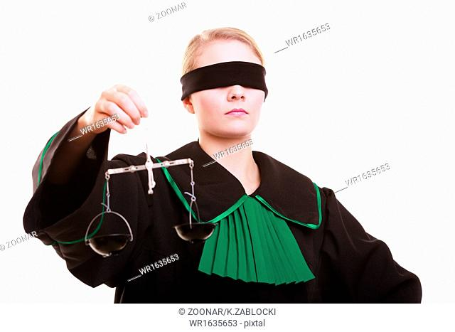 female lawyer attorney in classic polish black green gown and scales