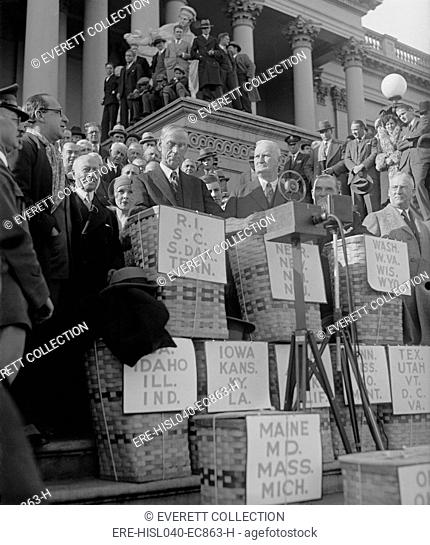 Basket containing huge petitions for reduction of Federal Income Tax in Dec. 1929. The petitions was received by Chairmen of the House and Senate Finance...